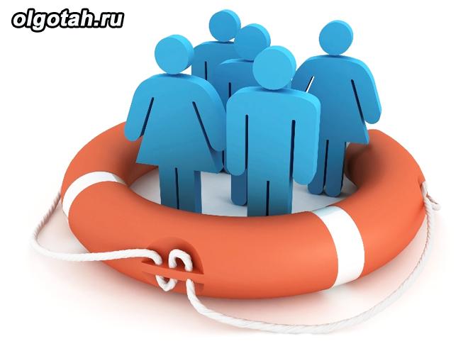 3-d человечки в спасательном кругу