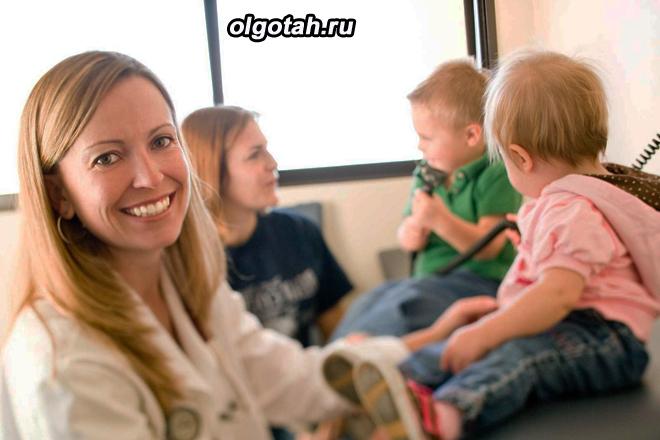 Мама с тремя детьми