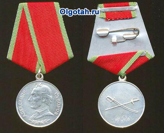 Медаль Суворова: аверс, реверс