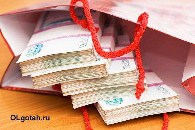 Пачки денег лежат в подарочном пакете