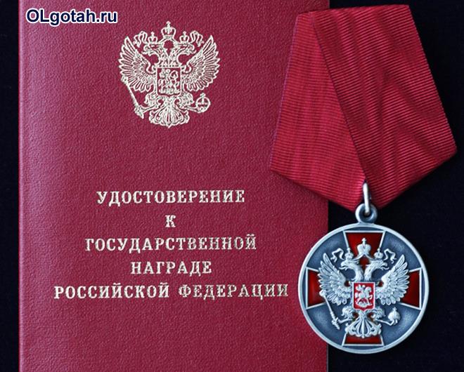 Медаль ордена за заслуги перед Отечеством 2 степени и удостоверение к государственной награде РФ
