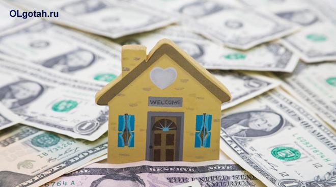 Игрушечный домик, доллары