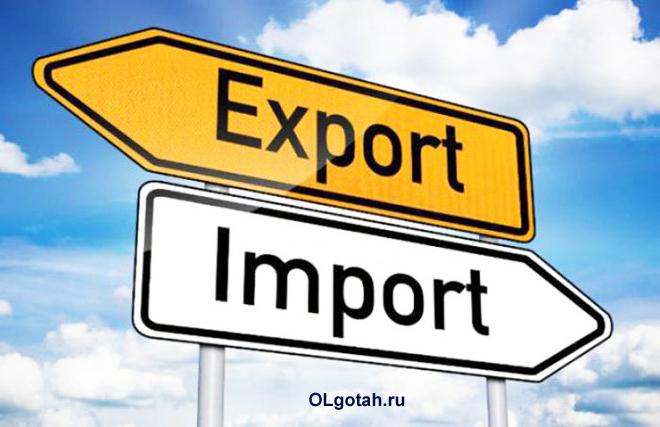 Таблички Импорт, Экспорт